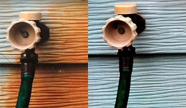 Valvula oxidada y limpia lado a lado